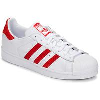 Schoenen Lage sneakers adidas Originals SUPERSTAR Wit / Rood