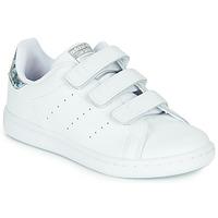 Schoenen Meisjes Lage sneakers adidas Originals STAN SMITH CF C Wit / Zilver