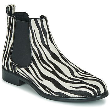 Schoenen Dames Laarzen Betty London HUGUETTE Zwart / Wit / Zebra