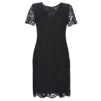 Textiel Dames Korte jurken Lauren Ralph Lauren SCALLOPED LACE DRESS Zwart