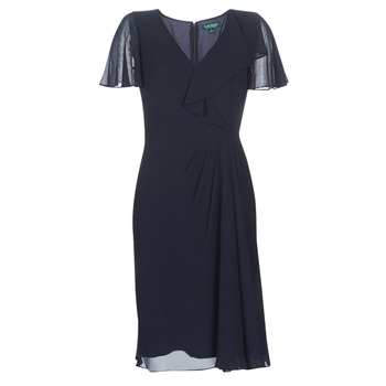 Textiel Dames Lange jurken Lauren Ralph Lauren CUTLER CAP SLEEVE DAY DRESS Marine