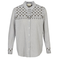 Textiel Dames Overhemden Maison Scotch BUTTON UP SHIRT WITH BANDANA PRINT Grijs
