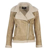 Textiel Dames Leren jas / kunstleren jas Only ONLMADDIE Beige