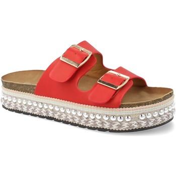 Schoenen Dames Leren slippers Festissimo YT5546 Rojo