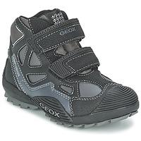 Schoenen Jongens Hoge sneakers Geox SAVAGE B Zwart / Grijs