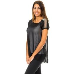 Textiel Dames Tops / Blousjes Met blouse à manches courtes Zwart