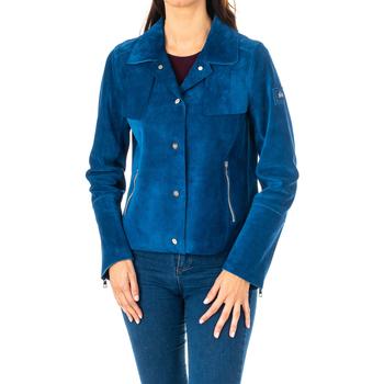 Textiel Dames Jasjes / Blazers La Martina Veste longue en cuir Blauw