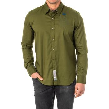 Textiel Heren Overhemden lange mouwen La Martina Chemise M / Long Groen