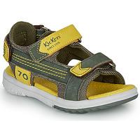 Schoenen Jongens Sandalen / Open schoenen Kickers PLANE Kaki / Geel