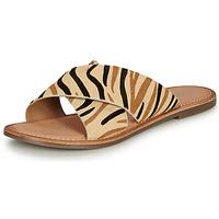 Schoenen Dames Leren slippers Kickers DIAZ-2 Beige / Zwart / Brown