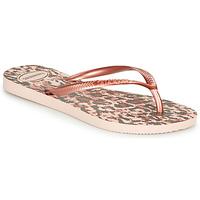 Schoenen Dames Slippers Havaianas SLIM ANIMALS Roze / Goud