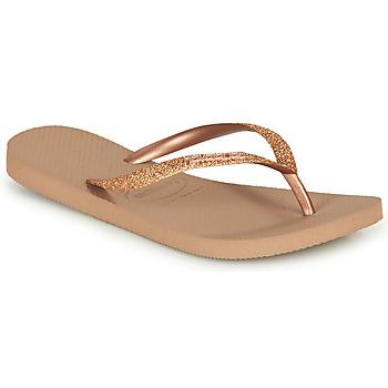 Schoenen Dames Slippers Havaianas SLIM GLITTER Roze / Gold