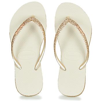Schoenen Dames Slippers Havaianas SLIM SPARKLE Beige / Goud