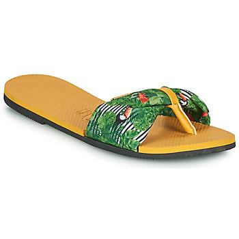Schoenen Dames Slippers Havaianas YOU SAINT TROPEZ Geel / Groen