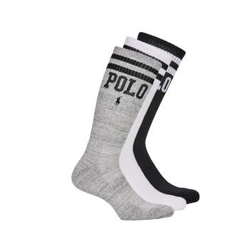 Accessoires Heren Sokken Polo Ralph Lauren 3PK DBLE BAR-CREW-3 PACK Wit / Grijs / Zwart