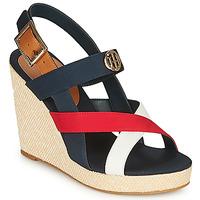 Schoenen Dames Sandalen / Open schoenen Tommy Hilfiger BASIC HARDWARE HIGH WEDGE SANDAL Blauw / Wit / Rood