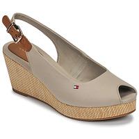 Schoenen Dames Sandalen / Open schoenen Tommy Hilfiger ICONIC ELBA SLING BACK WEDGE Taupe