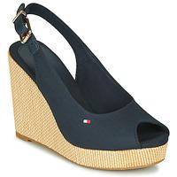 Schoenen Dames Sandalen / Open schoenen Tommy Hilfiger ICONIC ELENA SLING BACK WEDGE Blauw
