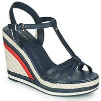 Schoenen Dames Sandalen / Open schoenen Tommy Hilfiger TOMMY STRAPPY HIGH WEDGE Blauw