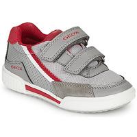 Schoenen Jongens Lage sneakers Geox J POSEIDO BOY Grijs / Rood
