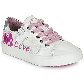 Schoenen Meisjes Lage sneakers Geox J GISLI GIRL Wit / Roze / Zilver