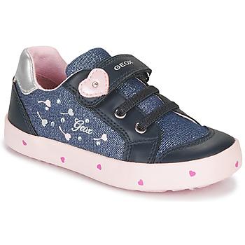 Schoenen Meisjes Lage sneakers Geox B KILWI GIRL Blauw / Roze