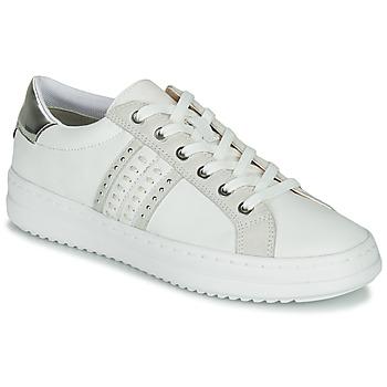 Schoenen Dames Lage sneakers Geox D PONTOISE Wit / Zilver