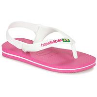 Schoenen Meisjes Slippers Havaianas BABY BRASIL LOGO II Roze / Wit