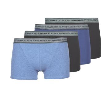 Ondergoed Heren Boxershorts Athena BASIC COTON Blauw / Zwart / Blauw / Zwart