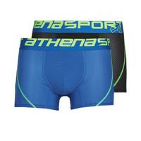 Ondergoed Heren Boxershorts Athena AIR PERFORMANCE PACK X2 Zwart / Blauw