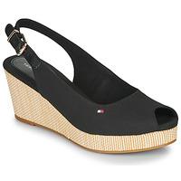 Schoenen Dames Sandalen / Open schoenen Tommy Hilfiger ICONIC ELBA SLING BACK WEDGE  zwart