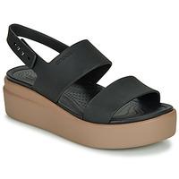 Schoenen Dames Sandalen / Open schoenen Crocs CROCS BROOKLYN LOW WEDGE W Zwart /  camel