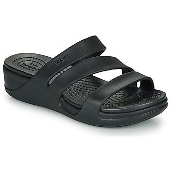 Schoenen Dames Leren slippers Crocs CROCS MONTEREY WEDGE W Zwart