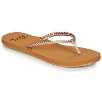 Schoenen Dames Slippers Roxy COSTAS Roze / Goud