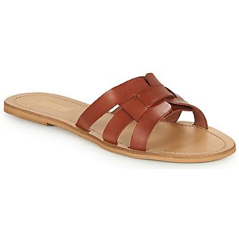 Schoenen Dames Leren slippers So Size MELINDA  camel