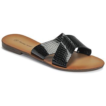 Schoenen Dames Leren slippers Moony Mood MADISON Zwart