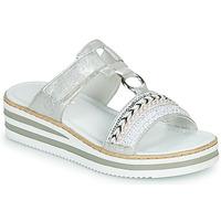 Schoenen Dames Leren slippers Rieker CLOZ Zilver / Wit