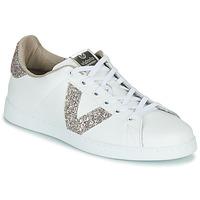 Schoenen Dames Lage sneakers Victoria TENIS PIEL GLITTER Wit / Roze
