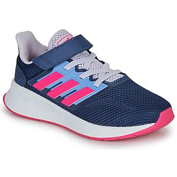 Schoenen Meisjes Lage sneakers adidas Performance RUNFALCON C Blauw / Roze