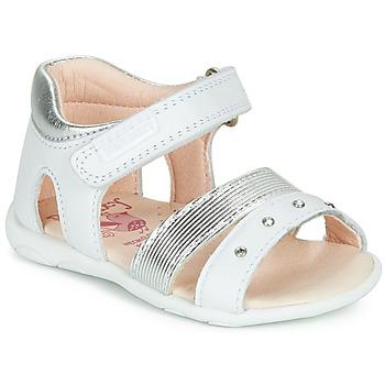 Schoenen Meisjes Sandalen / Open schoenen Pablosky  Wit / Zilver