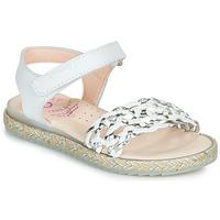 Schoenen Meisjes Sandalen / Open schoenen Pablosky MINNA Wit / Zilver