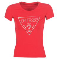 Textiel Dames T-shirts korte mouwen Guess SS RN SPARKLE TEE Rood