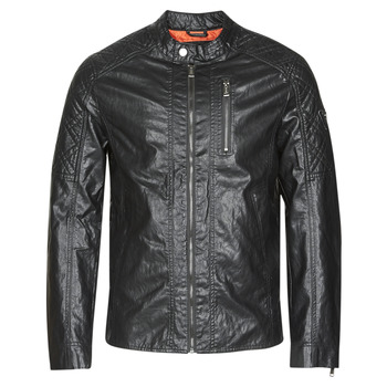 Textiel Heren Leren jas / kunstleren jas Guess QUILTED ECO LEATHER JACKET Zwart