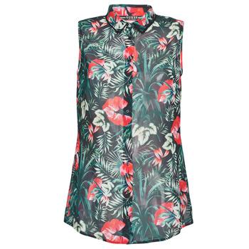 Textiel Dames Tops / Blousjes Guess SL CLOUIS SHIRT Zwart / Groen / Rood