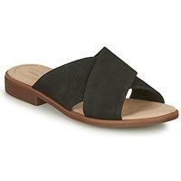 Schoenen Dames Leren slippers Clarks DECLAN IVY Zwart