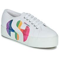 Schoenen Dames Lage sneakers Superga 2790-COTWPRINTEDLOGOGLITTER Wit