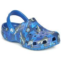 Schoenen Jongens Klompen Crocs CLASSIC SHARK CLOG Blauw