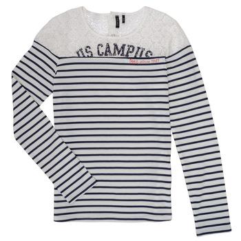 Textiel Meisjes T-shirts met lange mouwen Ikks DELLYSE Wit / Zwart