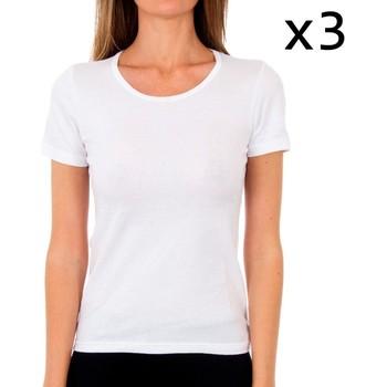 Ondergoed Dames Hemden Abanderado Pack-3 t-shirt en coton sra m / c Wit