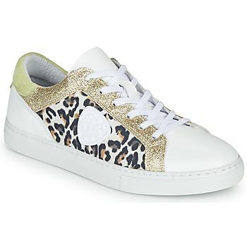 Schoenen Dames Lage sneakers Philippe Morvan FURRY Wit / Leopard / Glitter